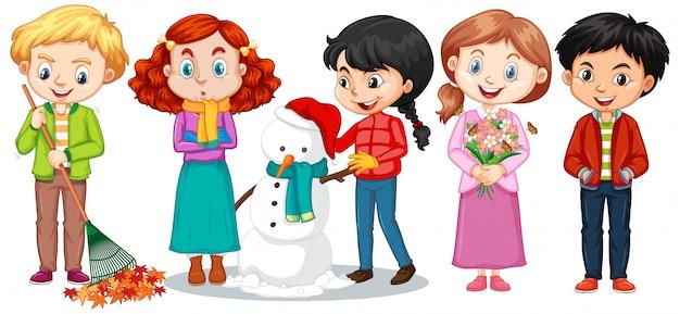 Chłopcy i dziewczęta w zimowe ubrania