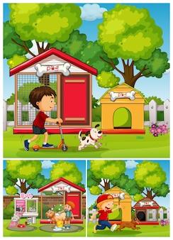 Chłopcy i psy w parku
