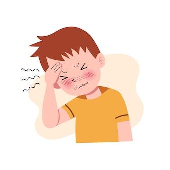 Chłopcy, mężczyźni lub ludzie mający ból głowy. migrena. naprężenie. depresja. frustracja i wyrażanie gniewu. pojęcie choroby. odosobniony. ilustracja w stylu cartoon płaski. zdrowie i medycyna.