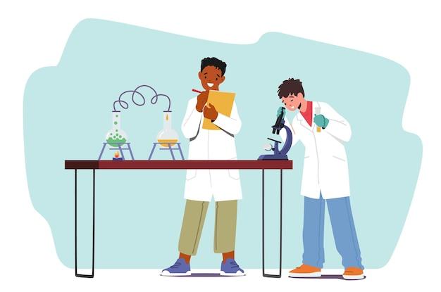 Chłopcy przeprowadzają eksperyment chemiczny. postacie dzieci uczą się chemii w klasie, eksperymentując w laboratorium z probówkami