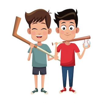Chłopcy uprawiają baseball i hokej