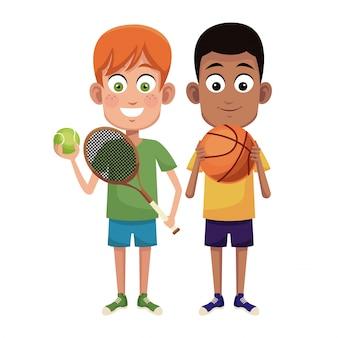 Chłopcy uprawiają tenis i koszykówkę