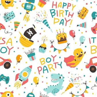 Chłopcy urodziny bezszwowe wzór wektor uroczysty kreskówka doodle tło w dziecinnym stylu