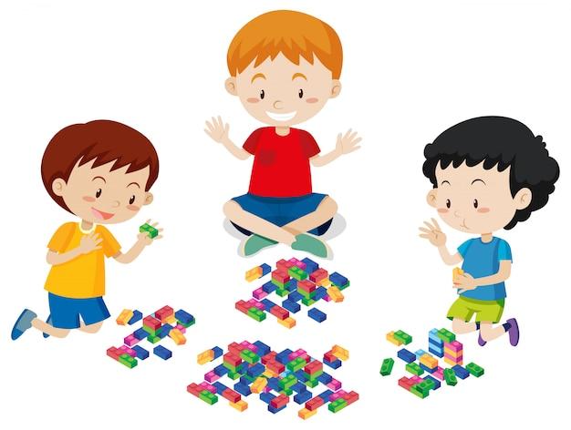 Chłopcy w lego na białym tle