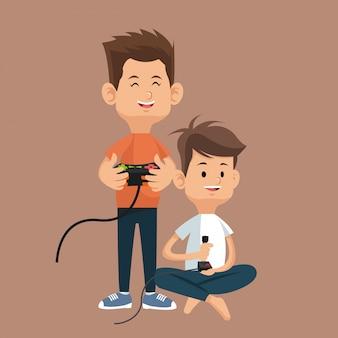 Chłopcy z konsolami kontrolnymi i joystickiem