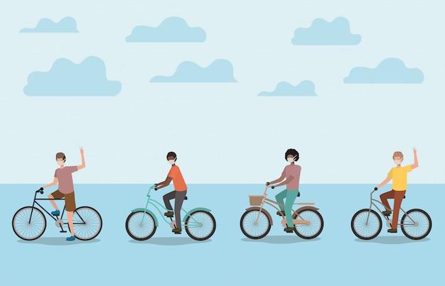 Chłopcy z maskami medycznymi na rowerach z chmurami