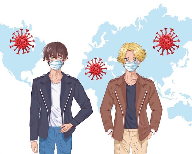 Chłopcy z maskami na twarz i covid19 cząstek w ziemi mapa wektor ilustracja projektu