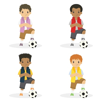 Chłopcy z ręką skrzyżowaną i lewą stopą na wektor zestaw piłki nożnej