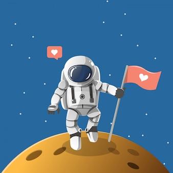 Chłopiec astronauta na planecie miłości.