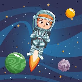 Chłopiec astronauta w przestrzeni