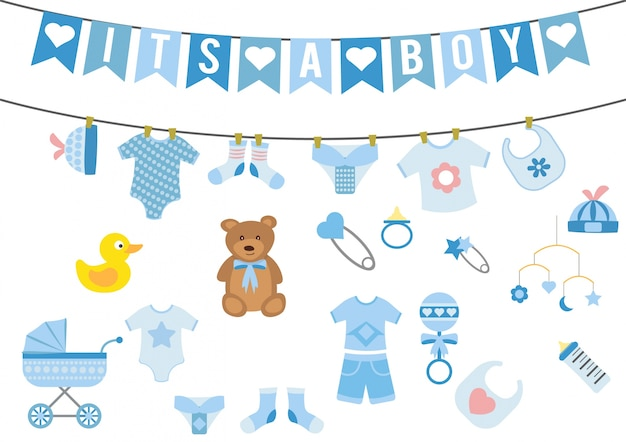 Chłopiec baby shower elementów