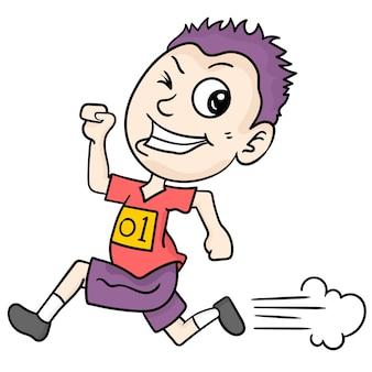 Chłopiec bawi się bieganiem. ilustracja kreskówka naklejka emotikon