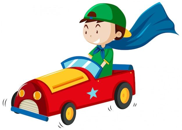 Chłopiec bawi się stylem cartoon zabawka samochód na białym tle