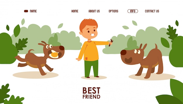Chłopiec bawi się z psami. szablon strony docelowej, projekt strony internetowej. śliczne postacie z kreskówek, zabawa ze zwierzętami. pies jest najlepszym przyjacielem chłopców