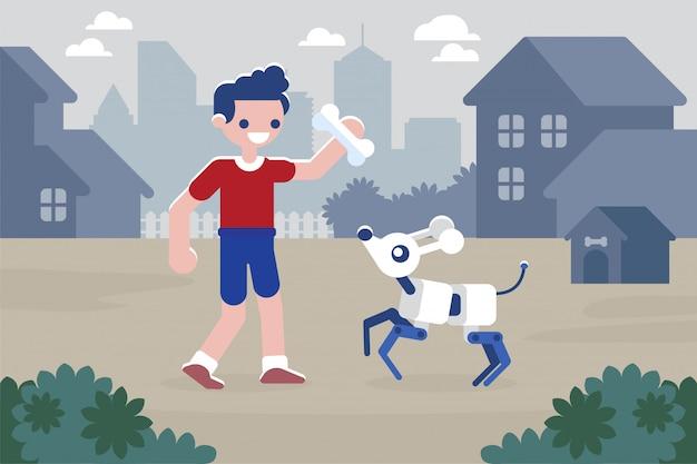 Chłopiec bawi się z psem cyber koncepcja sztucznej inteligencji