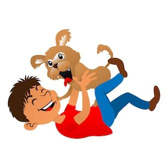 Chłopiec bawiący się szczeniakiem, najlepszy na maskotkę, naklejkę lub dekorację do sklepu zoologicznego