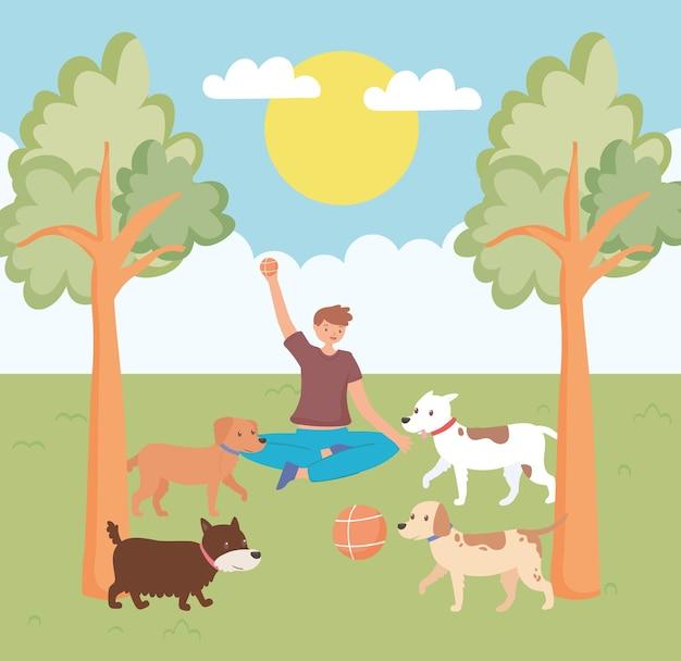 Chłopiec bawiący się ze zwierzętami