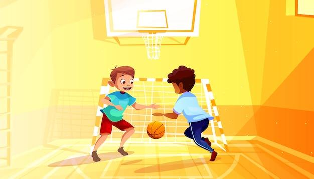 Chłopiec bawić się koszykówki ilustrację czarny afro amerykański dzieciak z piłką w szkolnej sala gimnastycznej