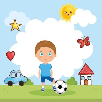 Chłopiec bawić się na parku
