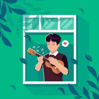 Chłopiec bawić się ukulele w nadokiennym ilustracyjnym tle