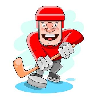 Chłopiec bawić się w hokeja na lodzie na białym tle
