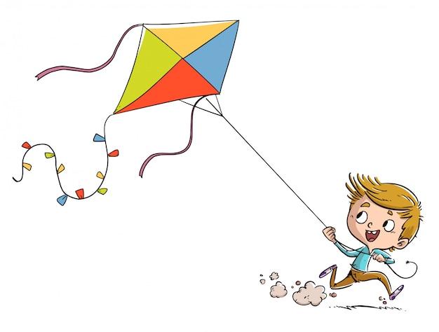 Chłopiec biegający z latawcem