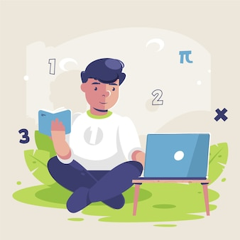 Chłopiec bierze lekcje online