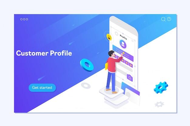 Chłopiec buduje profil klienta w aplikacji mobilnej