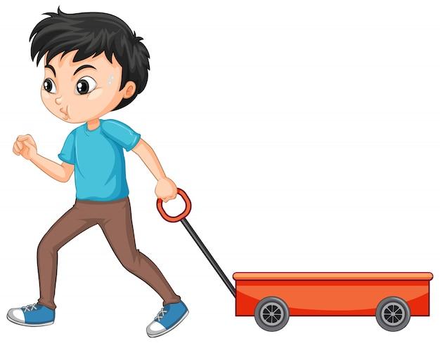 Chłopiec ciągnie wagon