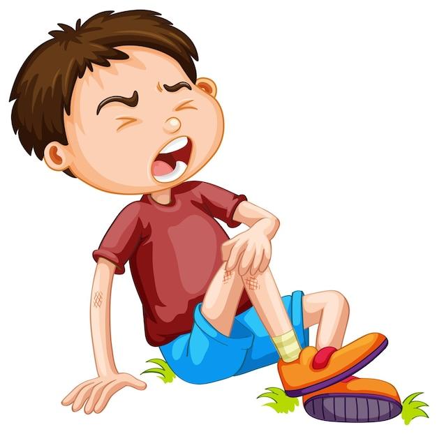 Chłopiec cierpiący z powodu wypadku