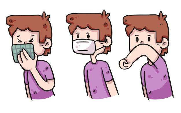 Chłopiec covid-19 ilustracja właściwej higieny
