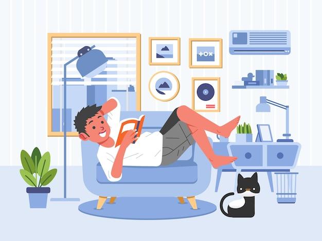 Chłopiec czyta książkę kładąc się na kanapie w ilustracji salonu. używane do plakatów, obrazów internetowych i innych