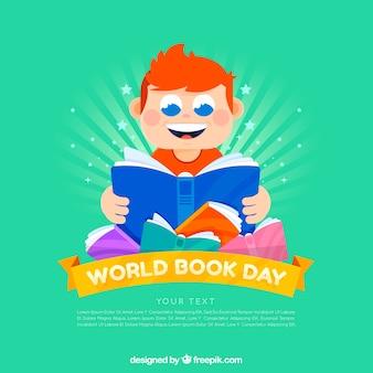 Chłopiec czyta książkę na światowym książkowym dniu