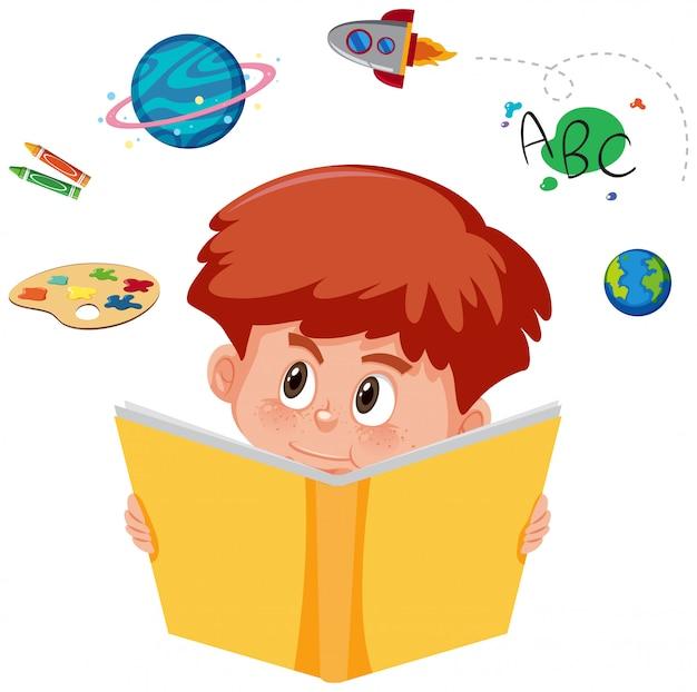 Chłopiec czyta książkę z wyobraźnią