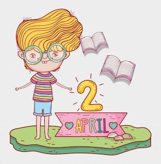 Chłopiec czyta książki literatury na wydarzenie dnia