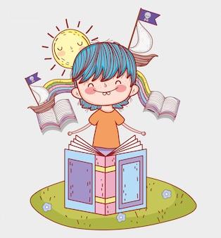 Chłopiec czyta książki z statkami i słońcem