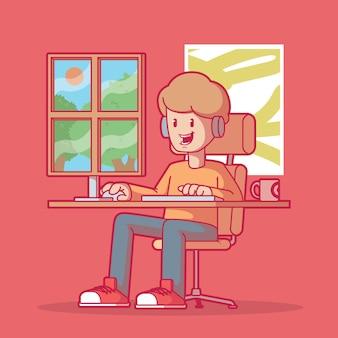 Chłopiec do gier w oknie. technologia, gry, wypoczynek.