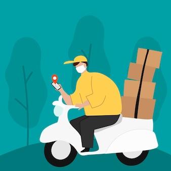 Chłopiec doręczyciel na skuterze ze skrzynkami na paczki sprawdzający mapę lokalizacji klienta