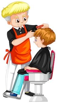 Chłopiec dostaje ostrzyżenie przy fryzjerem męskim
