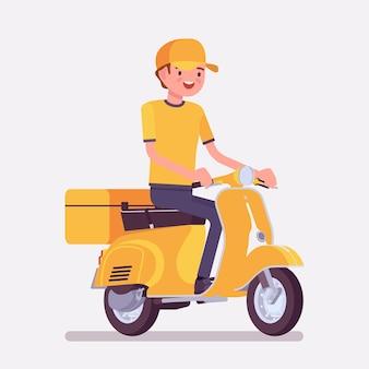 Chłopiec dostarczający skuter