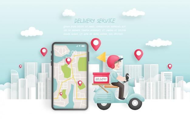 Chłopiec dostawy dostarczający paczkę do miasta ze skuterem, rezerwacja online. ilustracja