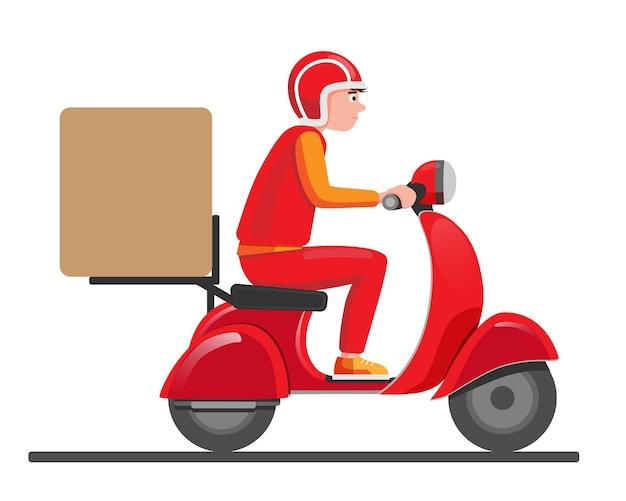 Chłopiec dostawy jeździć czerwony skuter motorower.