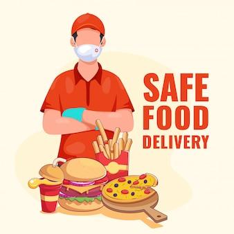 Chłopiec dostawy nosi maskę ochronną z rękawiczkami i prezentuje fast food na jasnożółtym tle dla bezpiecznego dostarczania żywności.