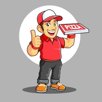 Chłopiec dostawy pizzy z czerwoną koszulką