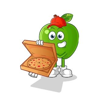 Chłopiec dostawy pizzy zielone jabłko