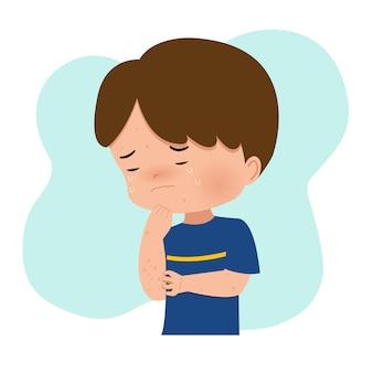 Chłopiec drapie się w rękę z powodu reakcji alergicznej, ospy wietrznej, pryszczów, ospy wietrznej. zaraźliwa infekcja wirusowa. uczucie swędzenia. płaski wektor na białym tle