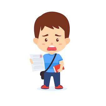 Chłopiec dzieci wykazujące złe oceny