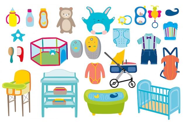 Chłopiec dzieciaka zestawu ilustracja. zabawki dla niemowląt, ubrania i kąpieli noworodka opieki kolekcja płaski na białym tle