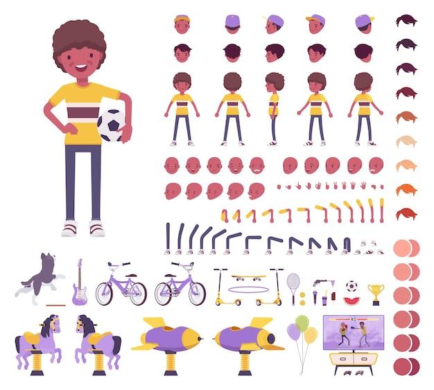 Chłopiec dziecko 7, 9 lat, czarny dzieciak w wieku szkolnym zestaw konstrukcyjny, uczeń, aktywny facet w letnim stroju, zabawa, elementy do tworzenia zajęć do zbudowania własnego projektu. ilustracja kreskówka płaski styl infographic