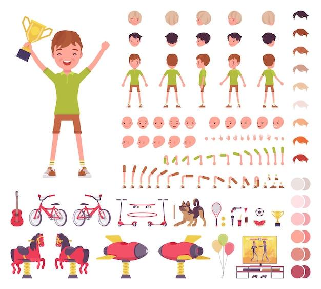 Chłopiec dziecko 7, 9 lat, zestaw konstrukcyjny dla dzieci w wieku szkolnym, uczeń, aktywny facet w letniej odzieży, zabawa, elementy tworzenia zajęć do budowania własnego projektu